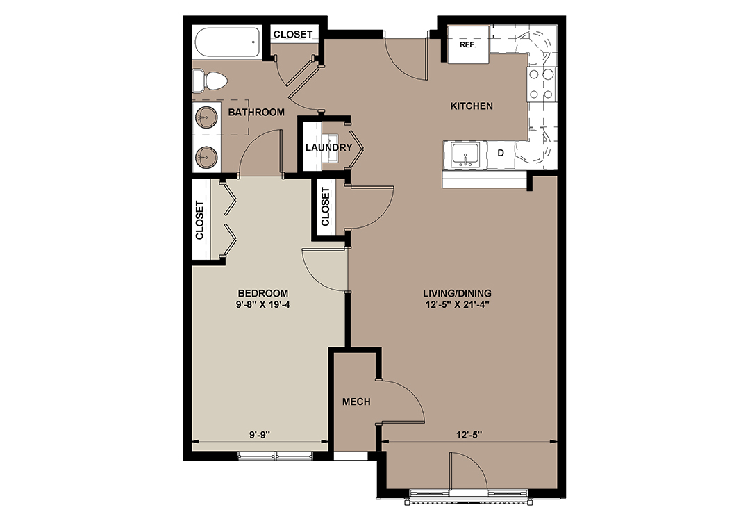 Laurel floor plan of a luxury 1-bedroom apartment rental in Lancaster, PA