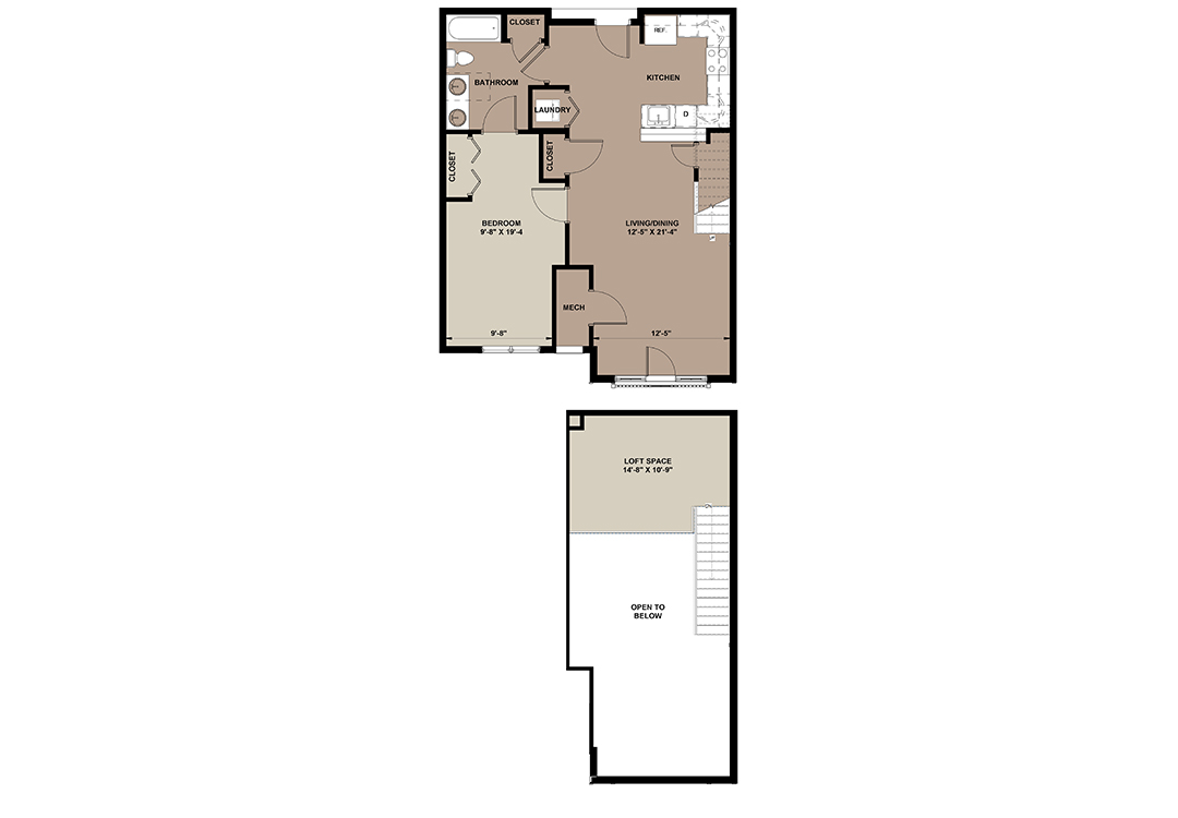 Laurel floor plan of a loft apartment in Lancaster with 1-bedroom