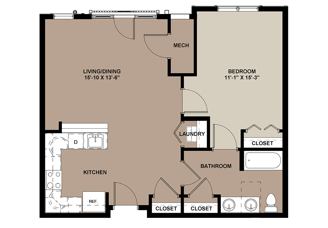 Cottonwood 750 sq. ft. 1-bedroom Lancaster apartment for rent at The Lofts at Worthington