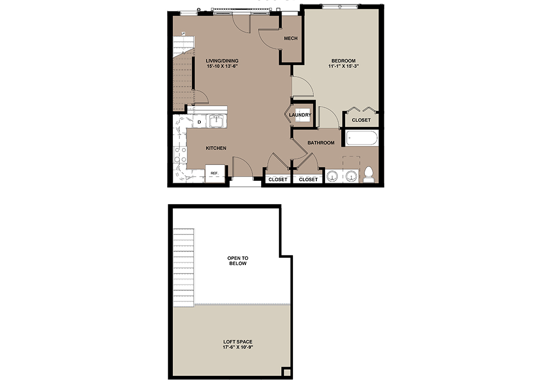 Cottonwood floor plan of a 1-bed, 1-bath apartment with second floor loft space.