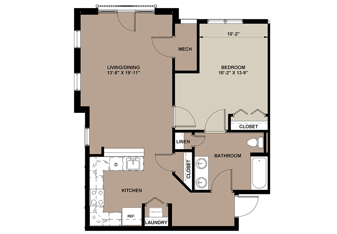 Cedar 800 sq. ft. Lancaster 1-bedroom apartment rental at The Lofts at Worthington