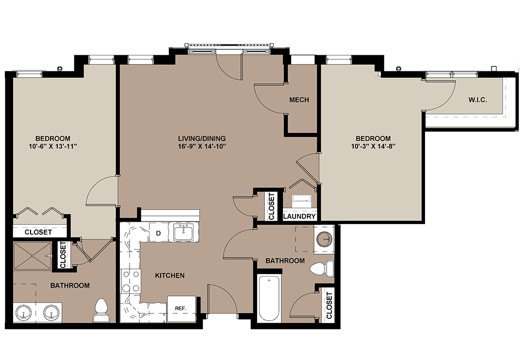 The Maple apartment floor plan with 2-bedrooms and 2-bathrooms