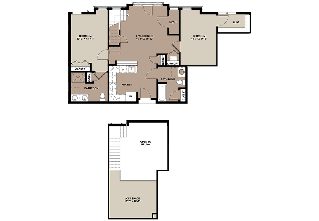 The Maple luxury 2-bedroom loft apartment floor plan at The Lofts at Worthington