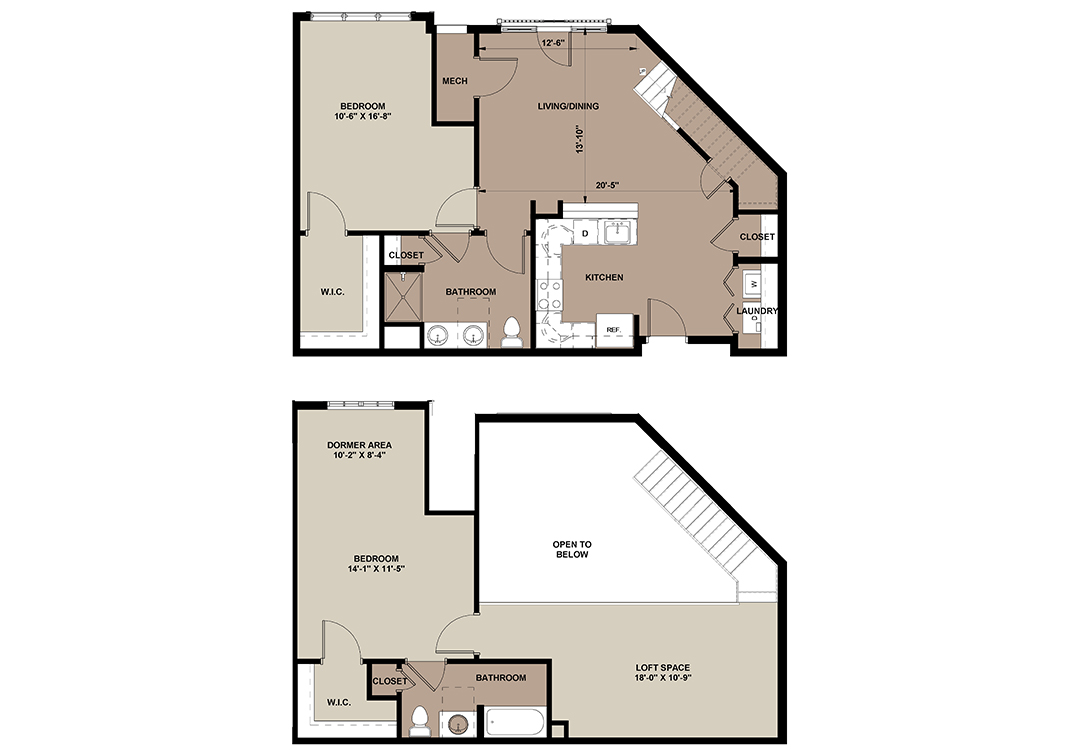 The Oak Loft apartment floor plan with 2-bedrooms at The Lofts at Worthington