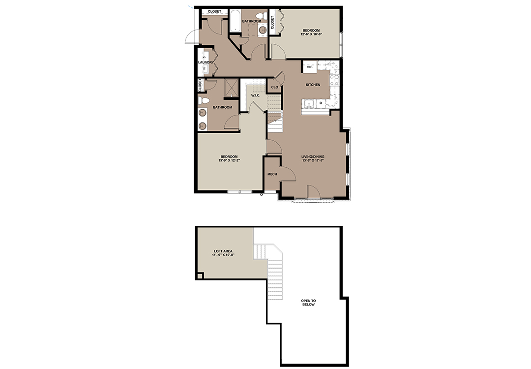 The Redwood luxury 2-bedroom loft apartment floor plan at The Lofts at Worthington