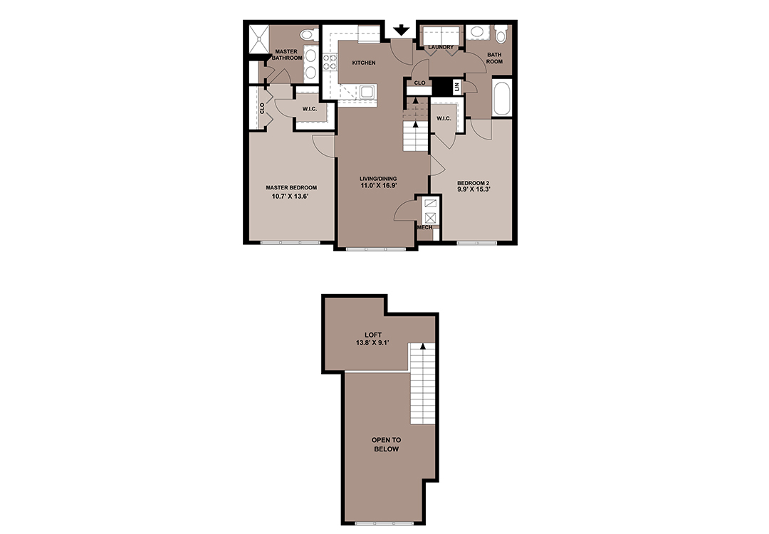 The Black Rock loft apartment floor plan with 2-bedrooms at The Lofts at Worthington