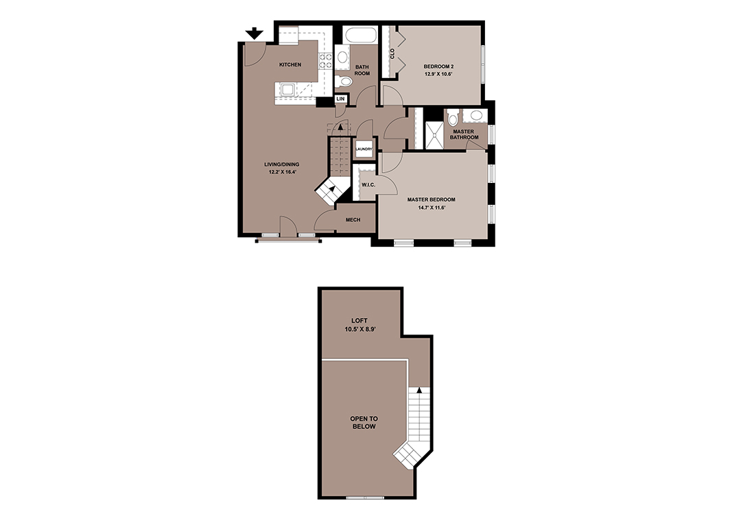 The Celestine loft apartment floor plan with 2-bedrooms and 2-bathrooms