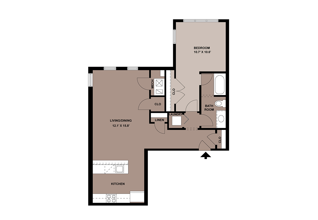 Floor plan of The Galena 927 sq. ft. 1-bedroom apartment in Lancaster, PA