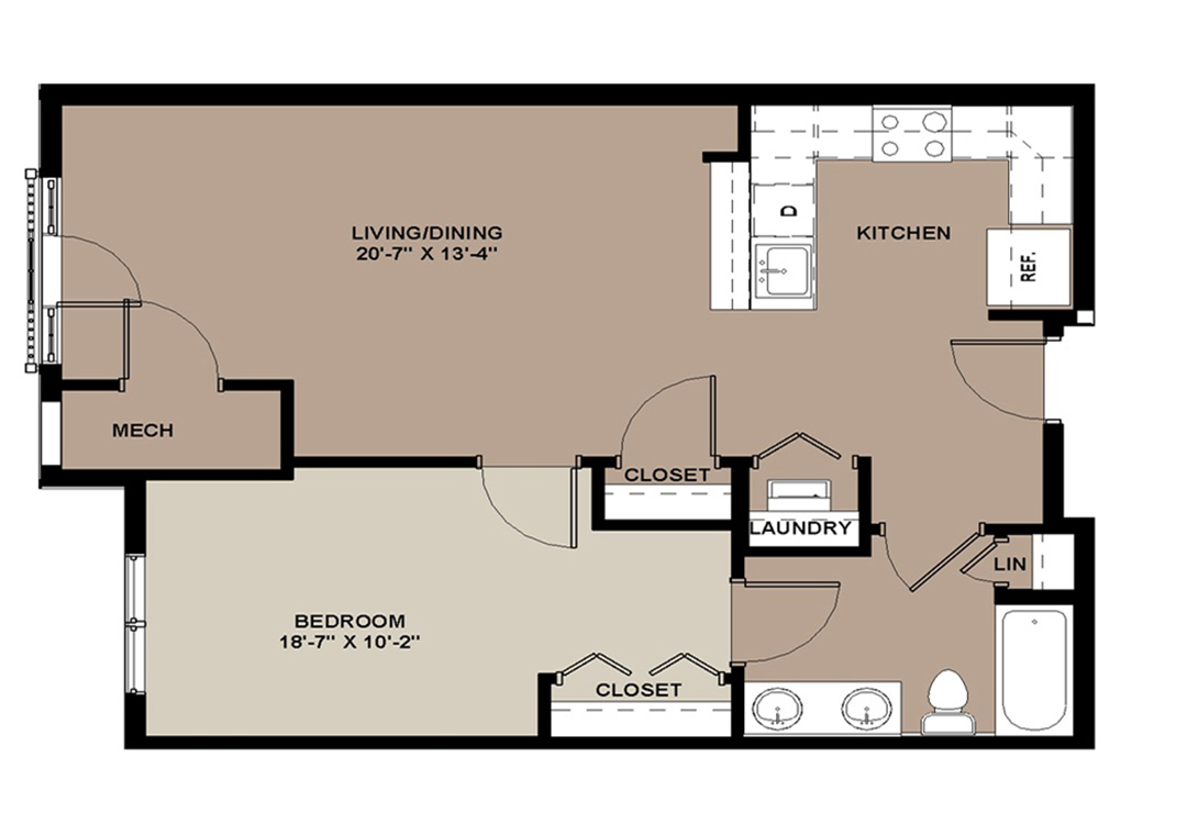 Floor plan of The Aspen 1-bedroom Lancaster apartment with 731 sq. ft.