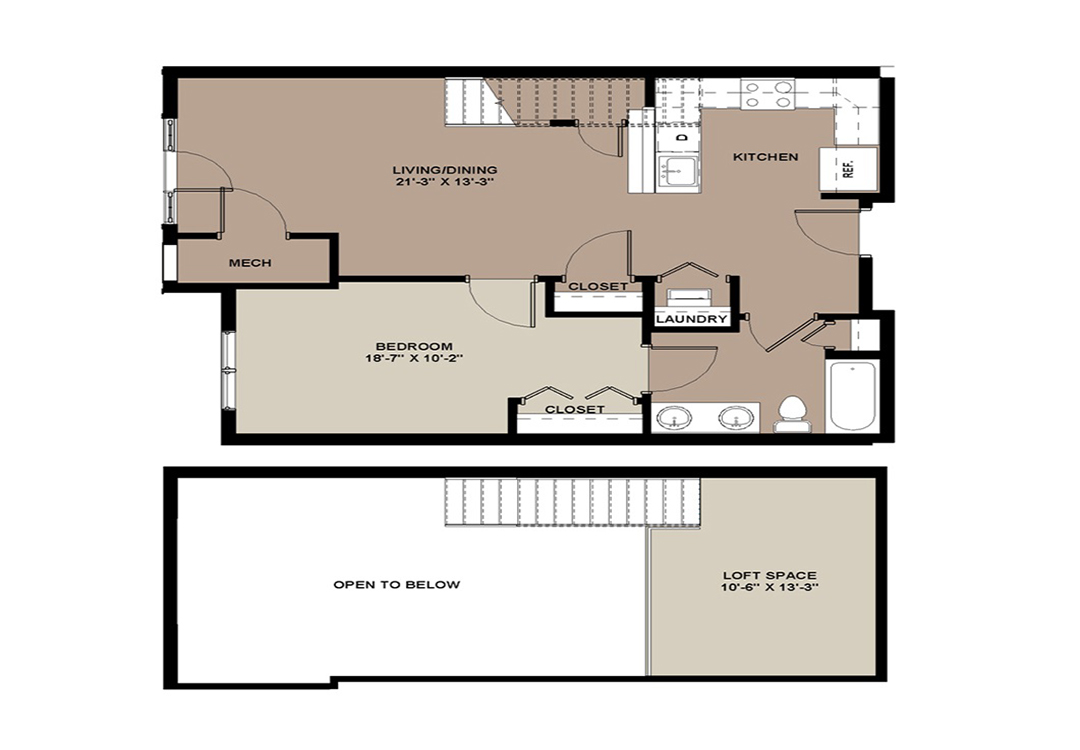 Floor plan of The Aspen Lancaster, PA loft apartment with 1-bedroom and 863 sq. ft.