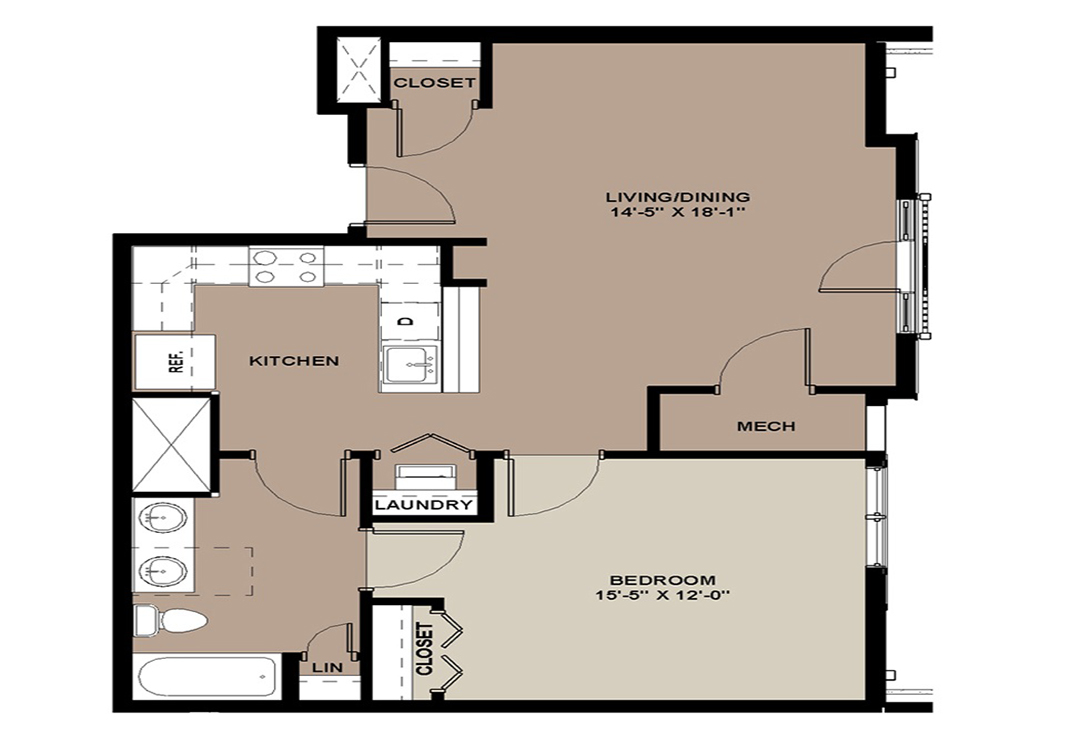 Floor plan of The Hickory 756 sq. ft. 1-bedroom apartment for rent in Lancaster, PA