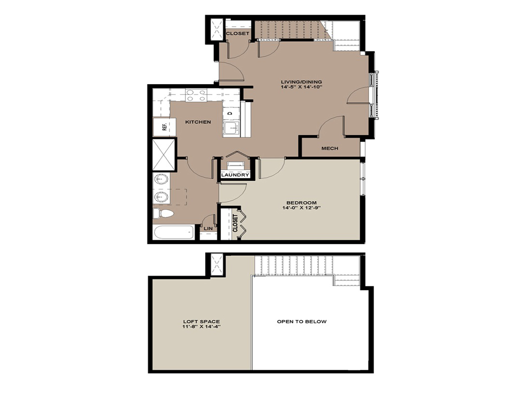 The Hickory 1-bedroom loft apartment for rent with 934 sq. ft. in Lancaster, PA
