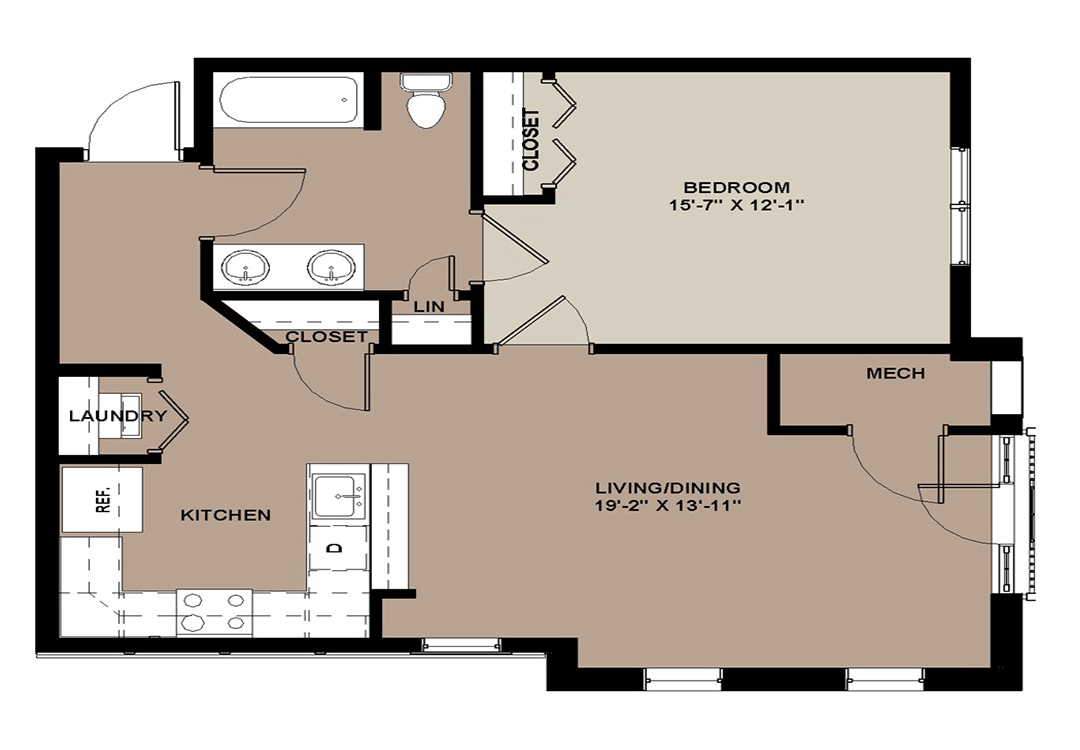 Floor plan of The Willow 749 sq. ft. 1-bedroom apartment in Lancaster, PA
