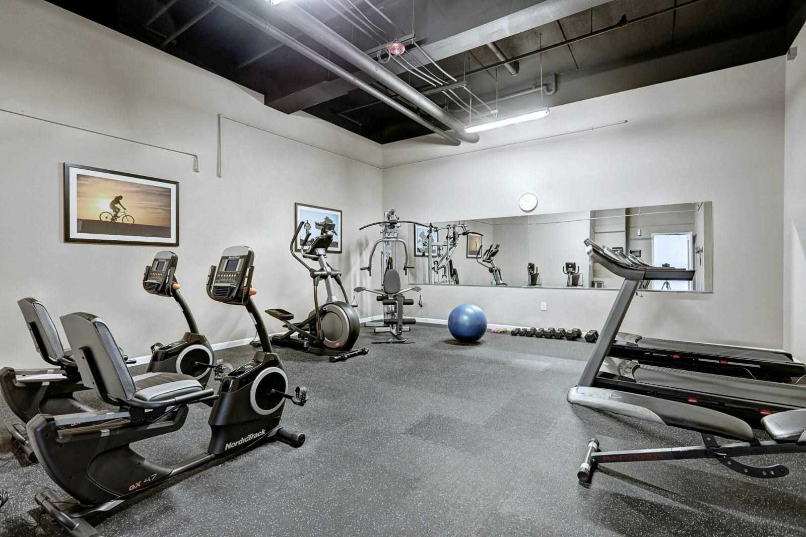 weight room and fitness center at The Lofts at Worthington in Lancaster