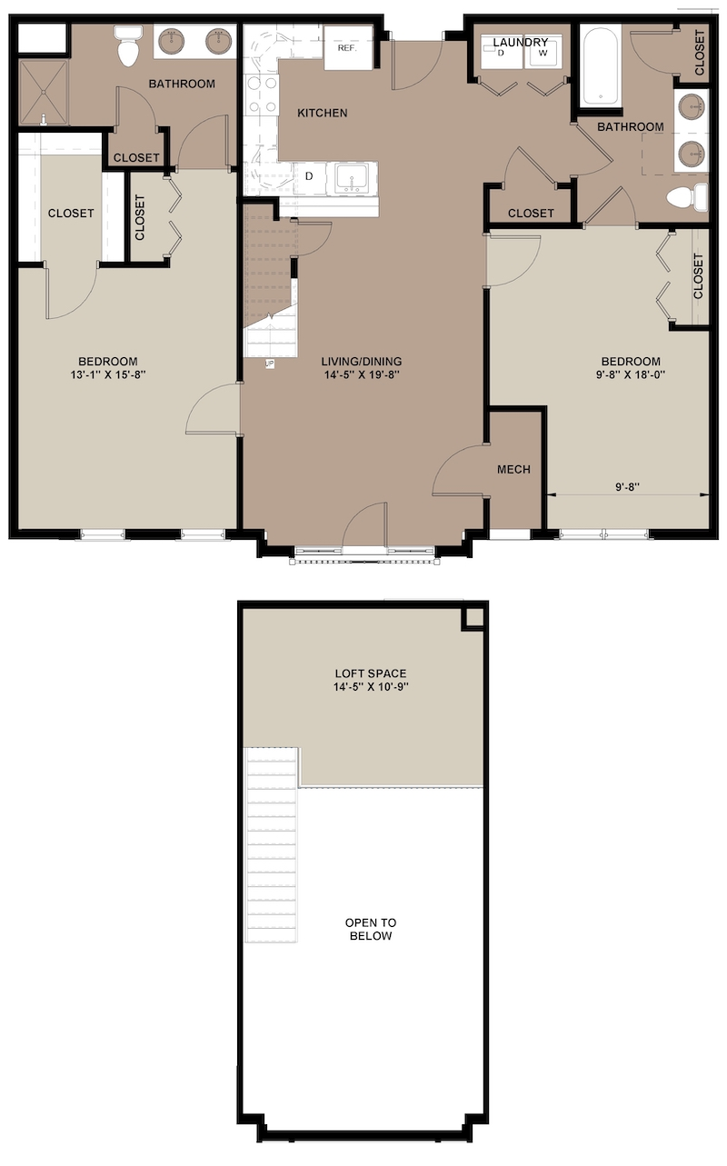 Mahogany Lofts apartment floor plan with 2-bedrooms and 2-bathrooms